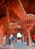 The central pillar of Diwan-i-Khas (Hall of Private Audience). Fatehpur Sikri. Uttar Pradesh. India Royalty Free Stock Photo