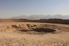 The central pit of the tower of silence at Yazd, Iran. Royalty Free Stock Photos