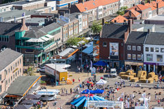 Central plaza Emmeloord with agricultural potato festival, The Netherlands Royalty Free Stock Photo