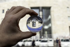 Central postal office of naples view in  a glass ball Royalty Free Stock Photos
