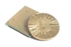Central processing unit CPU microchip with golden Bitcoin Royalty Free Stock Photos