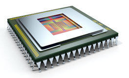 Central processing unit, cpu. One CPU on white background, the cpu is without the cover and the circuits are visible (3d render Royalty Free Stock Image