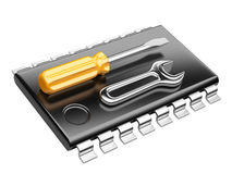 Central Processor unit concept. CPU with tools. Stock Photos
