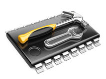 Central Processor unit concept. CPU with tools. Stock Photo