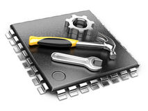 Central Processor unit concept. CPU with tools. Royalty Free Stock Photo