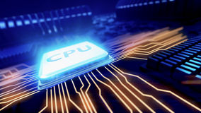 Central processor unit on mainboard Stock Photography