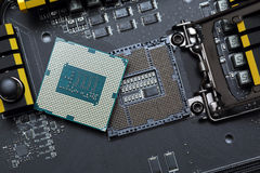 Central processor unit on motherboard Stock Photography