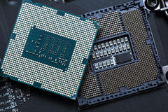 Central processor unit on motherboard Stock Image