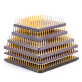 Central Processor Units. Some old CPU isolated on white background Stock Photos