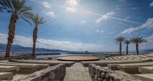 Central promenade and amphitheater in Eilat city, Israel royalty free stock photo