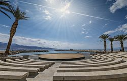 Central promenade and amphitheater in Eilat city, Israel stock image