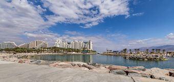 Central promenade and luxury hotels in Eilat city, Israel stock images