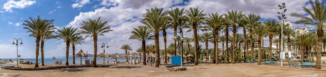 Central public beach in Eilat city, Israel royalty free stock photography