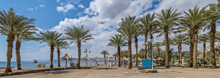 Central public beach in Eilat city, Israel stock photos