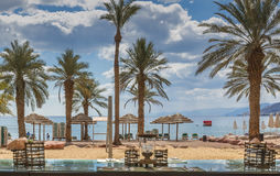Central public beach in Eilat Royalty Free Stock Image