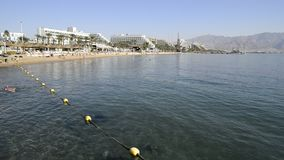 Central public beach in Eilat, Israel stock video footage