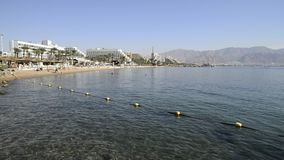 Central public beach in Eilat, Israel stock video