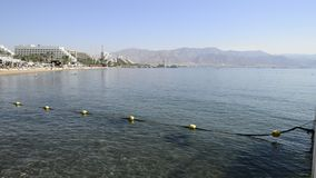 Central public beach in Eilat, Israel stock footage