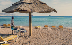 Central public beach in Eilat, relaxing atmosphere Royalty Free Stock Photography