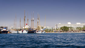 Central public beach and marina in Eilat Stock Image