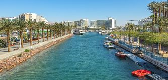 Morning at central marina in Eilat, Israel. Central public marina and beach, concept of tourism, travel and happy vacation Stock Image
