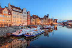 Central quay of Gdansk at twilight, Poland stock images