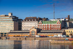 Central quay of Helsinki with oldest city market hall Royalty Free Stock Image