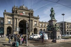 Central railway station landmark in old town of zurich switzerla Royalty Free Stock Image