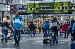 Central railway Station Malmo. Travelers and tourists at the Central railway station in Malmo, on March 30, 2015 in Malmo, Sweden Royalty Free Stock Photography
