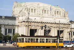 Central railway station in Milan. Fronr view Milano Centrale railway station Stock Photo
