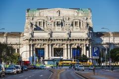 Central Railway Station of Milan. Milan, Italy - May 04 2016: View of the facade of Central Railway Station from Vittor Pisani street Stock Images