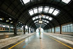 Central railway station of Milan. A part of a platform of station Milano centrale. Italy Royalty Free Stock Photography