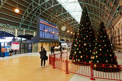 Central Railway Station, Sydney, Australia. Christmas decorations on the Grand Concourse, Central Railway Station, Haymarket, Sydney, NSW, Australia. Central is stock images
