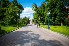 Central recreation park in the capital of Russia Moscow named `Aleksandrovsky sad`. This is the favorite vacation spot of the citi Stock Image