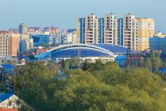 Central residential area of the city of Omsk in summer. Omsk, Russia - May 2, 2016: central residential area of the city of Omsk in summer Stock Photo