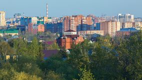 Central residential area of the city of Omsk in summer. Omsk, Russia - May 2, 2016: central residential area of the city of Omsk in summer Royalty Free Stock Image