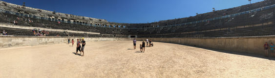 The central ring in the arena of Nîmes panorama, France Stock Photo