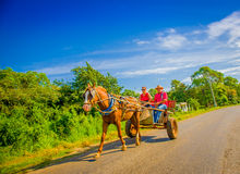 CENTRAL ROAD, CUBA - SEPTEMBER 06, 2015: Horse and a cart  Royalty Free Stock Images