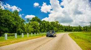 CENTRAL ROAD, CUBA - SEPTEMBER 06, 2015: retro car Stock Images
