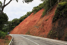Central road on the island of Praslin Stock Image