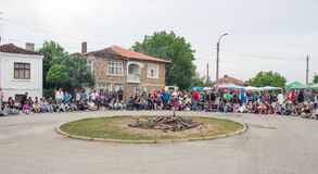 Central rural area for Nestenar games in the village of Bulgarians. Bulgaria is the only country in the world where barefoot people dance on red-hot charcoal Stock Photos