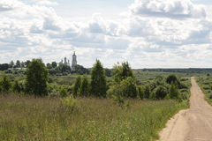 Central Russia, village of Antushkovo. Monastery of Descent of the Cross. Stock Images