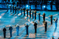 The  Central Russian Band of the Navy named after NA Rimsky-Korsakov at the Red Square. MOSCOW, RUSSIA - AUGUST 26, 2016: Spasskaya Tower international military Stock Photo