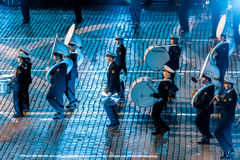 The  Central Russian Band of the Navy named after NA Rimsky-Korsakov at the Red Square. MOSCOW, RUSSIA - AUGUST 26, 2016: Spasskaya Tower international military Royalty Free Stock Image