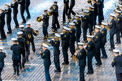 The  Central Russian Band of the Navy named after NA Rimsky-Korsakov at the Red Square. MOSCOW, RUSSIA - AUGUST 26, 2016: Spasskaya Tower international military Royalty Free Stock Photography