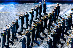 The  Central Russian Band of the Navy named after NA Rimsky-Korsakov at the Red Square. MOSCOW, RUSSIA - AUGUST 26, 2016: Spasskaya Tower international military Royalty Free Stock Images
