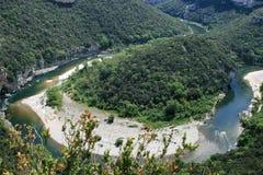 central södra france för ardeche flod Arkivbilder