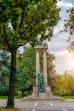The central sculpture in the park of the city of Novara. Italy. Toning Stock Photography
