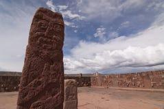 Central Sculpture at Semi-subterranean Temple Stock Photos