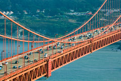 Central section of Golden Gate Bridge, San Francisco. Central section of Golden Gate Bridge with many cars crossing it, San Francisco stock photo